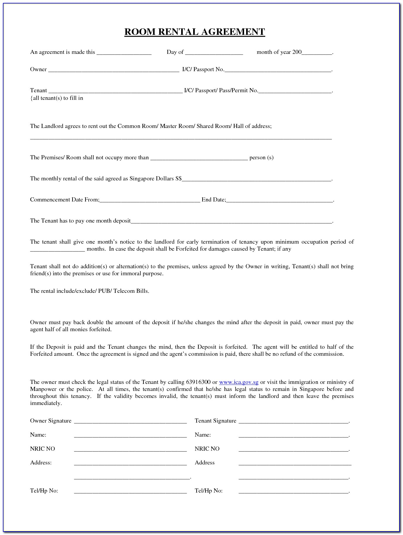 Simple Rental Agreement Form Free