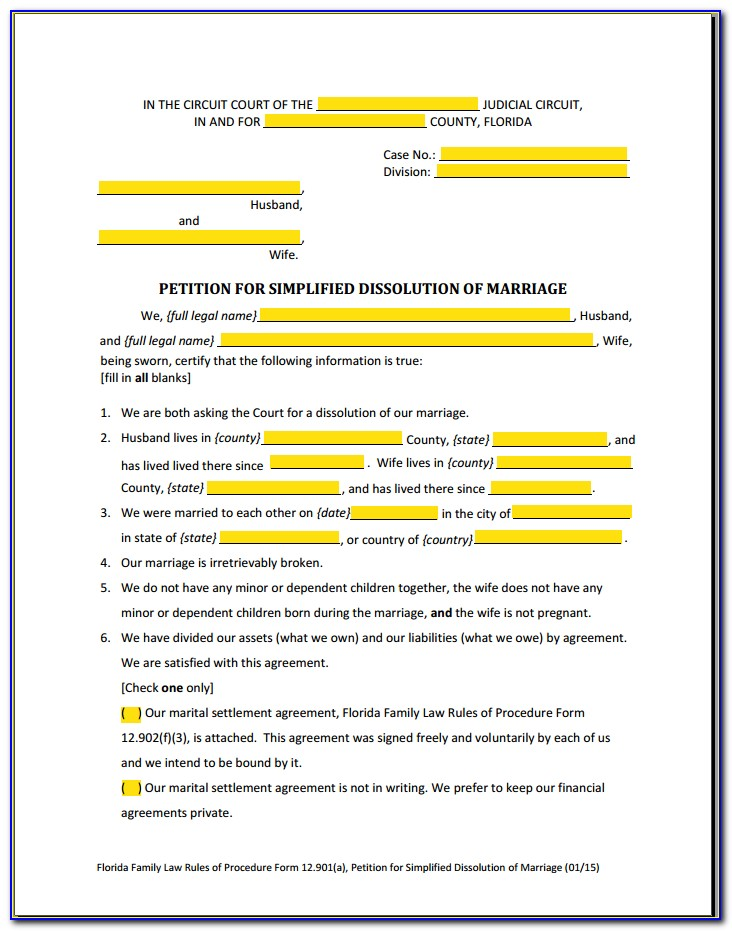 Simplified Dissolution Of Marriage In Florida Forms