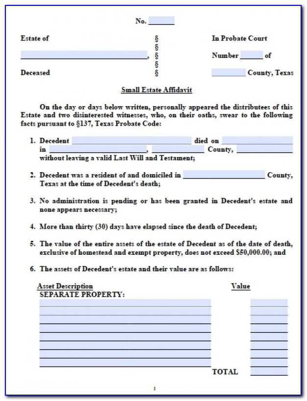 Small Estate Affidavit Texas Form Free