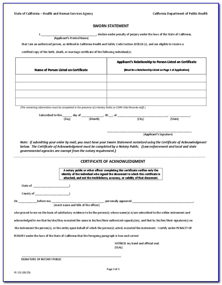 State Of California Birth Certificate Request Form
