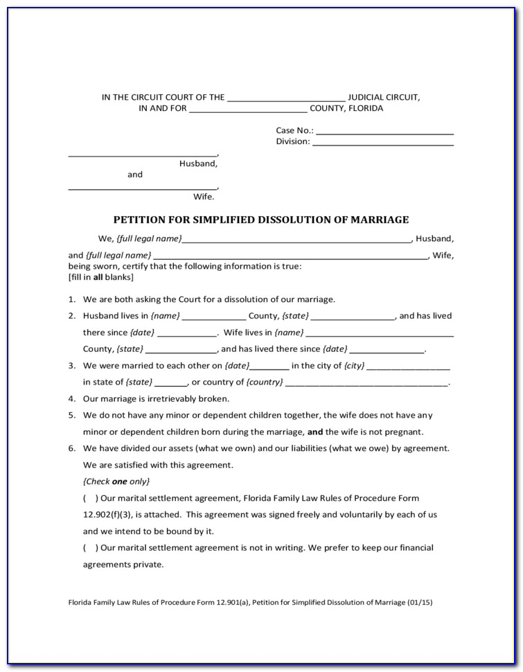 State Of Florida Annulment Forms