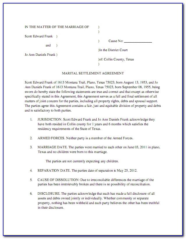 State Of Texas Divorce Decree Form
