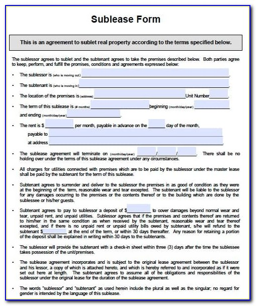 Sublease Contract Sample