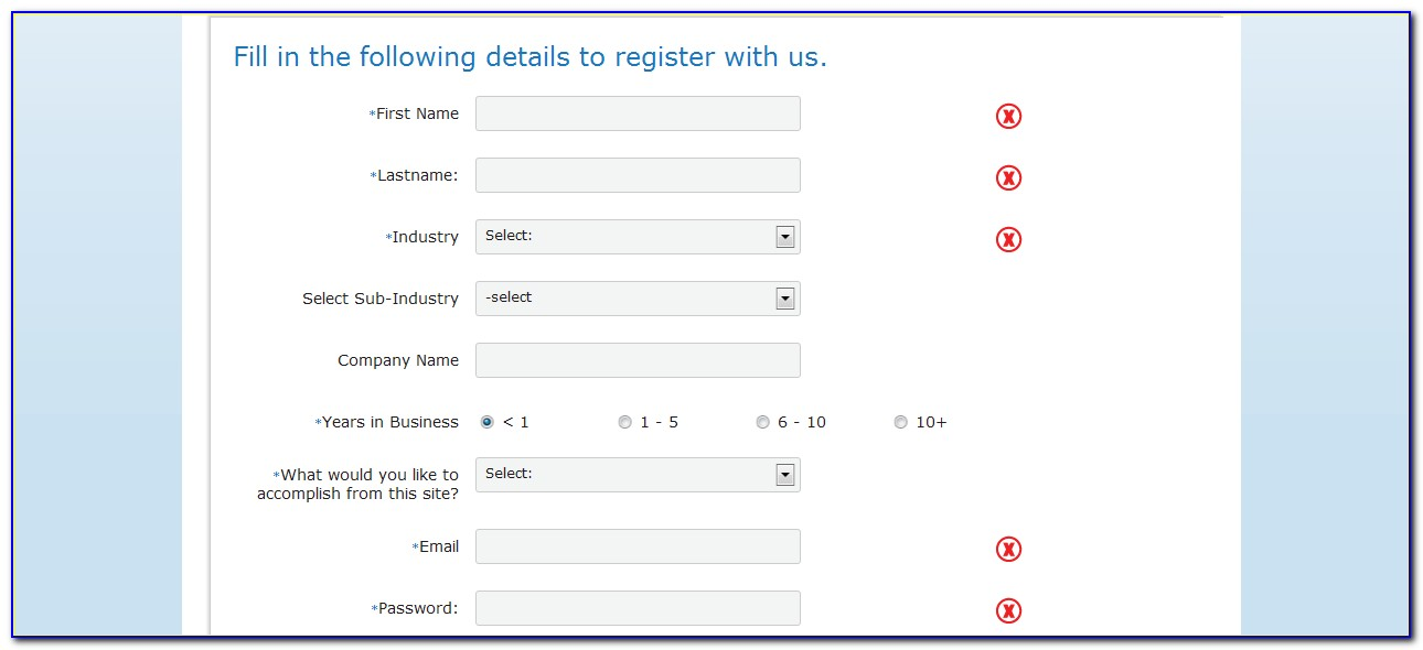 Template For Registration Form In Html And Css Free Download