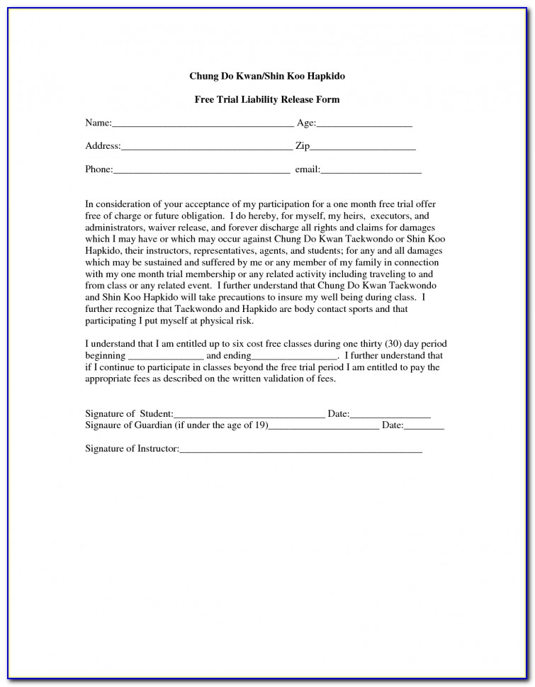 Trampoline Release Of Liability Form Free