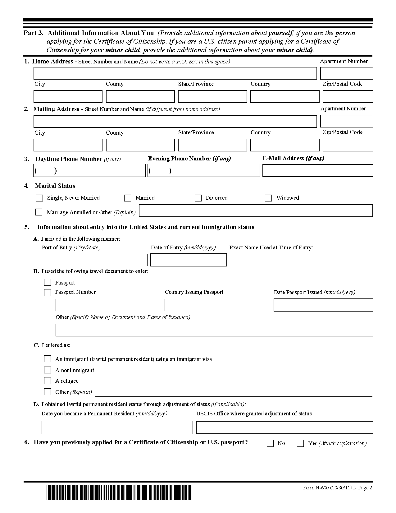 Uscis Form N 400 Application For Naturalization