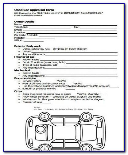 Used Car Appraisal Form Templates