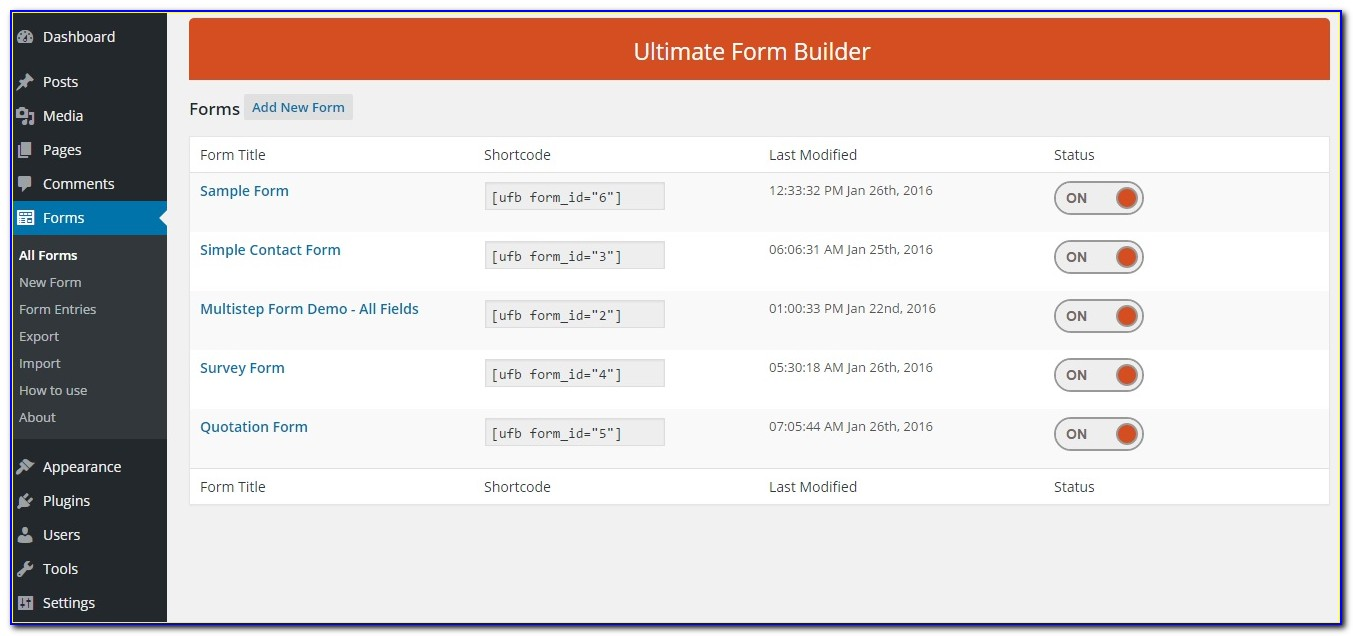 Wordpress Enquiry Form Creator