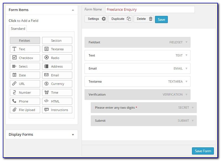 Wordpress Form Creator Plugin