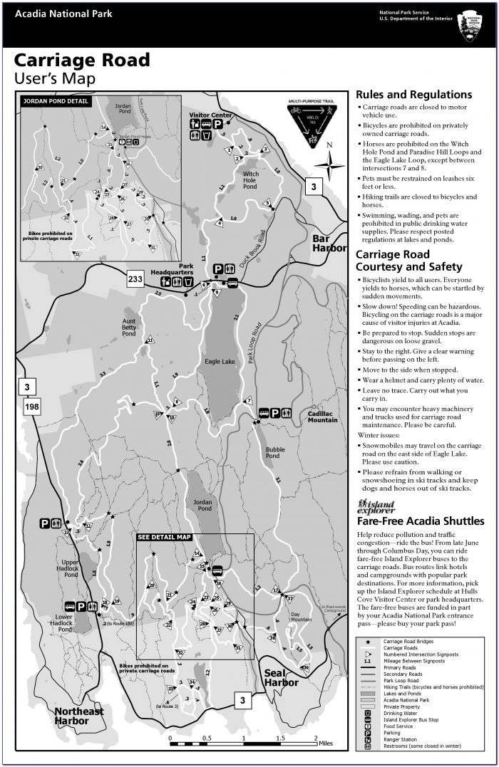 Acadia National Park Beehive Trail Map