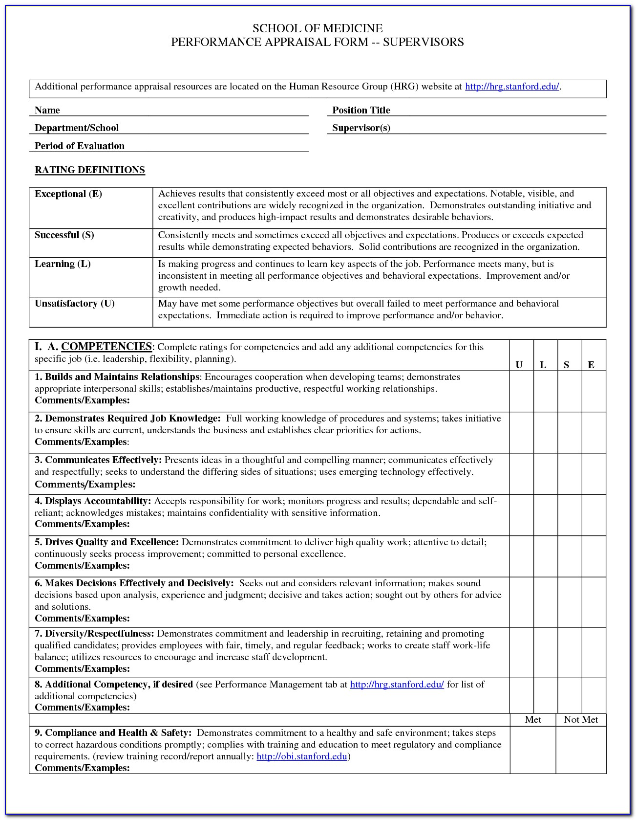 Annual Performance Appraisal Form