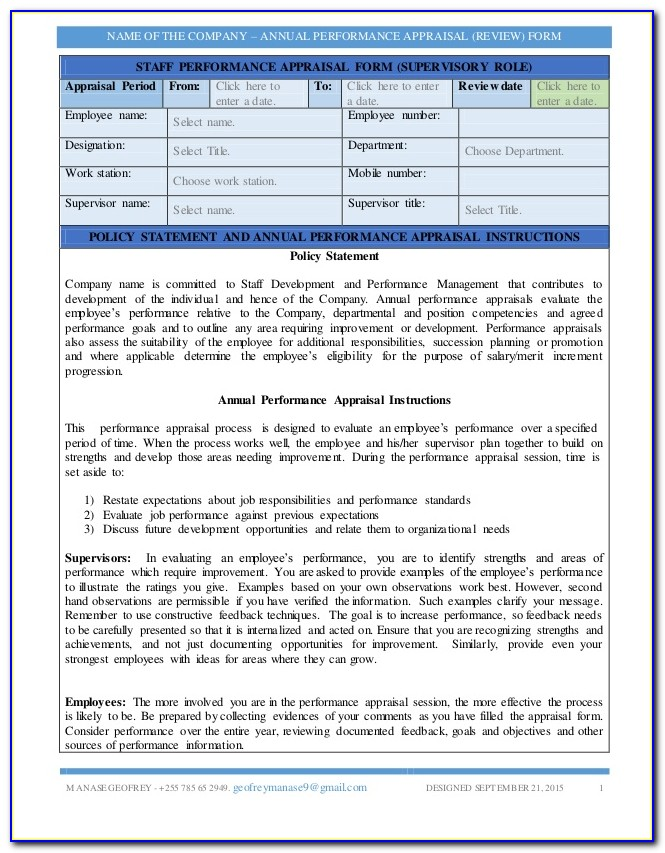 Annual Performance Appraisal Format