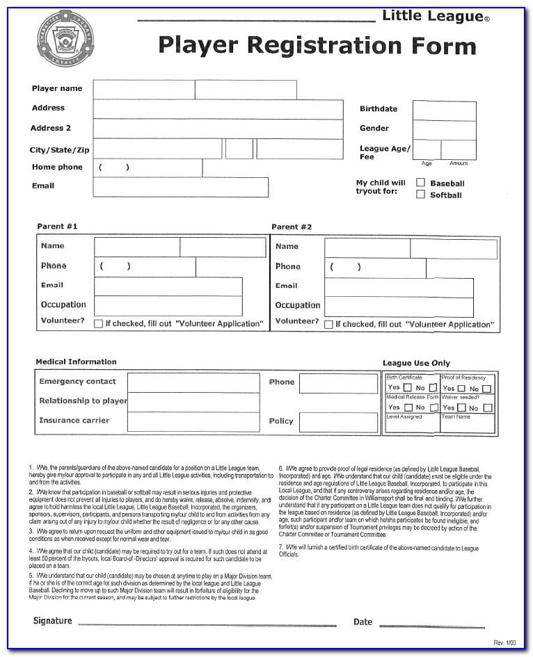 Baseball Player Registration Form Template