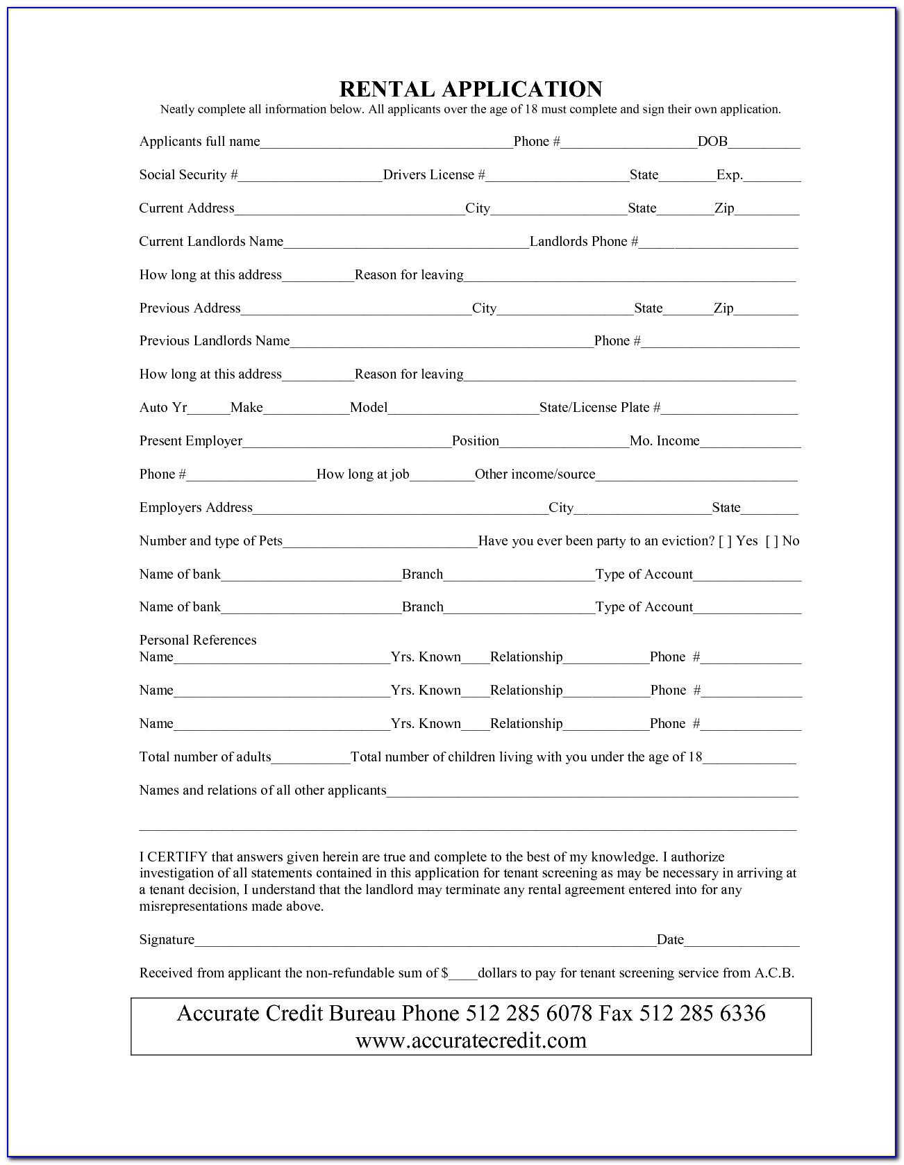 Basic Rental Contract Form