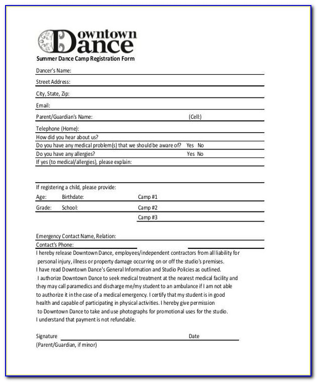 Summer Camp Registration Form Template | Professional Template Pertaining To Summer Camp Registration Form Template