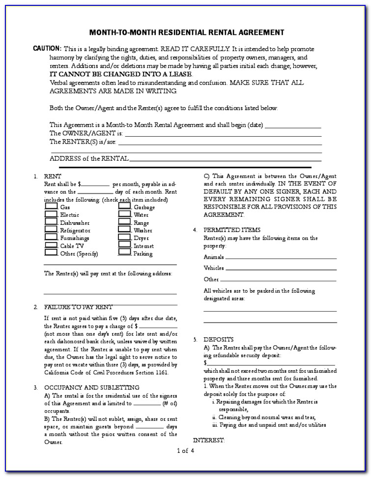 Ca Month To Month Rental Agreement Form
