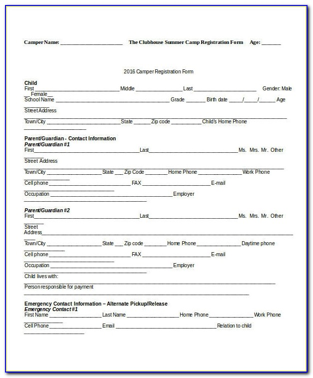 Registration Form Template 9 Free Pdf Word Documents Download Camp Registration Form Template Camp Registration Form Template