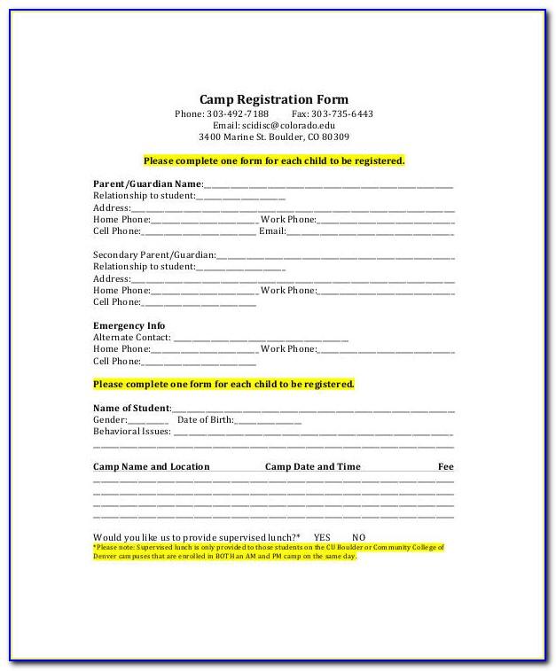 Camp Registration Form Template