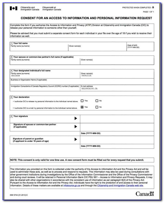 Canadian Immigration Entry Form