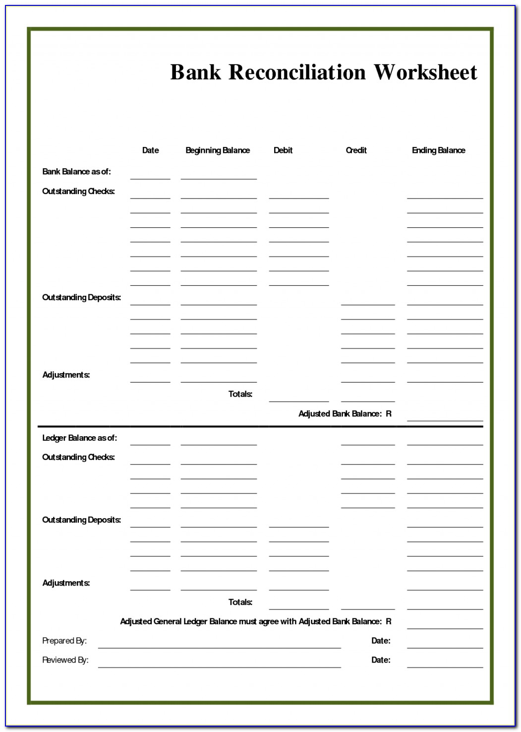 Checking Account Reconciliation Form Excel