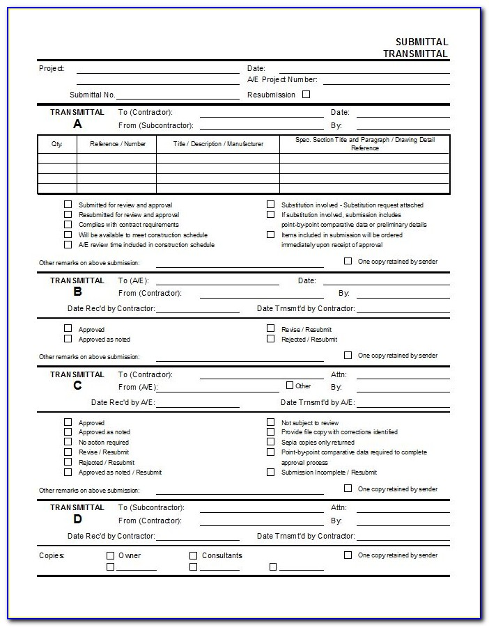 Construction Material Submittal Form Template