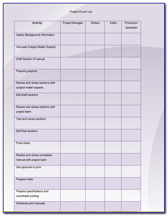 Construction Punch List Completion Form