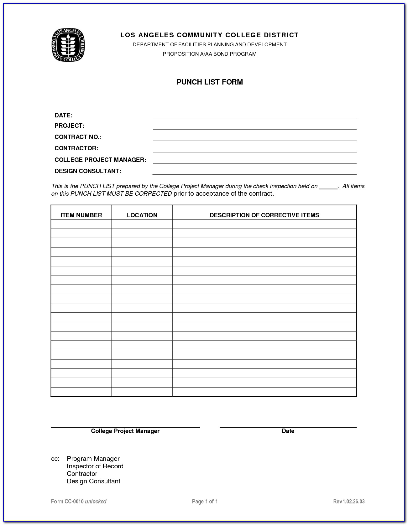 Construction Punch List Format