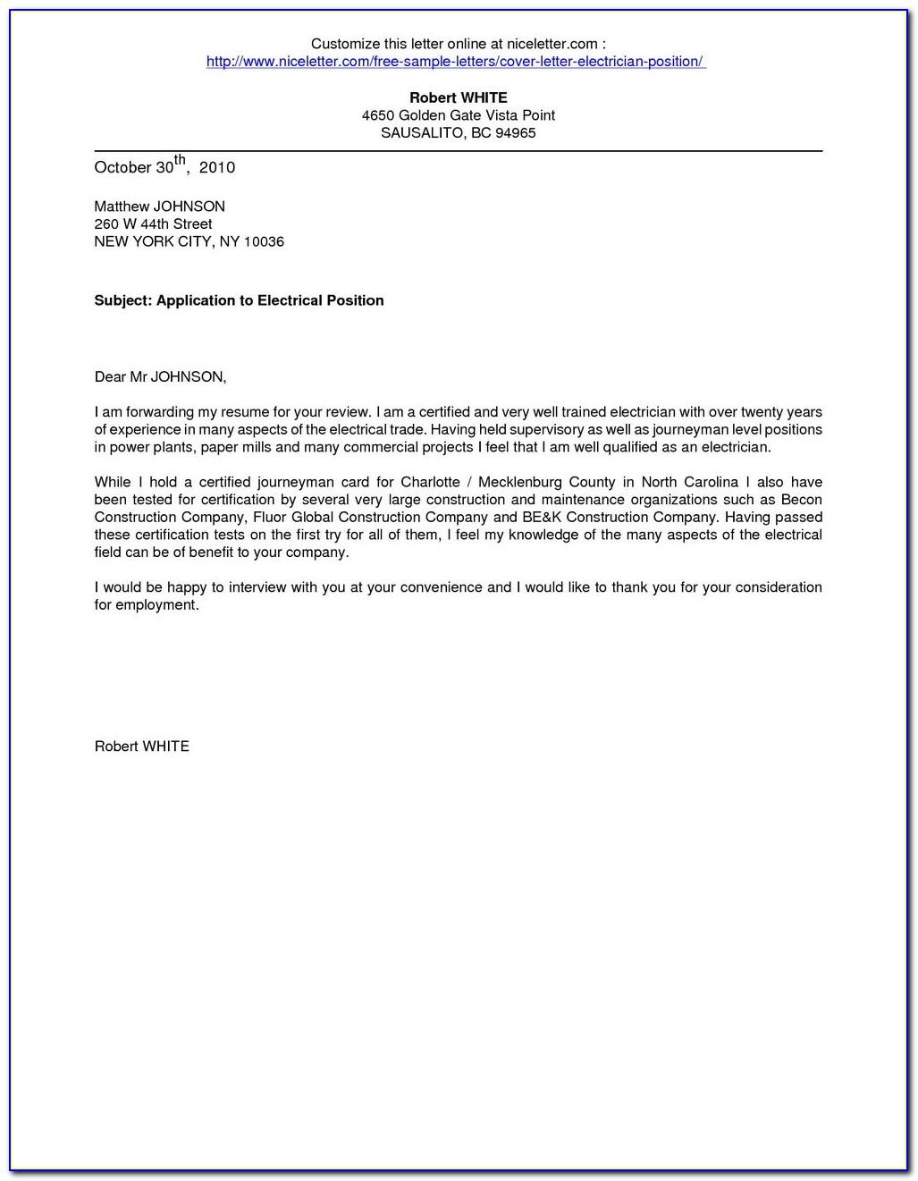 Electrician Job Application Letter Sample - Job Applications ...