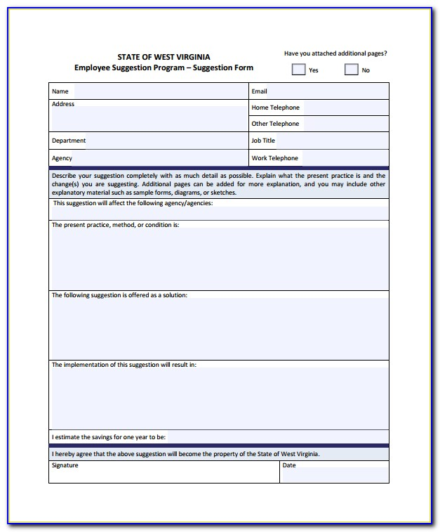 Employee Suggestion Form Template Free Download