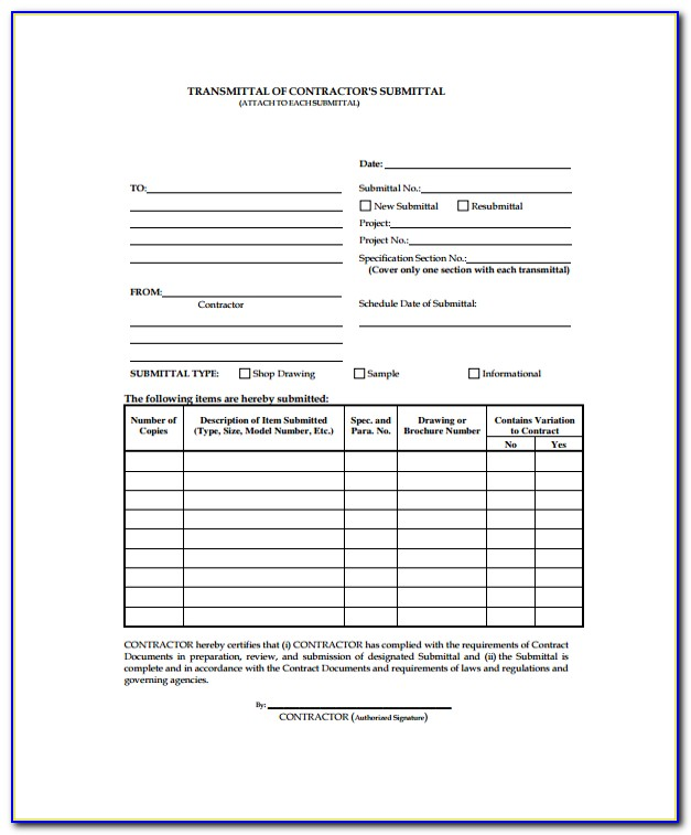 Excel Construction Submittal Form Template