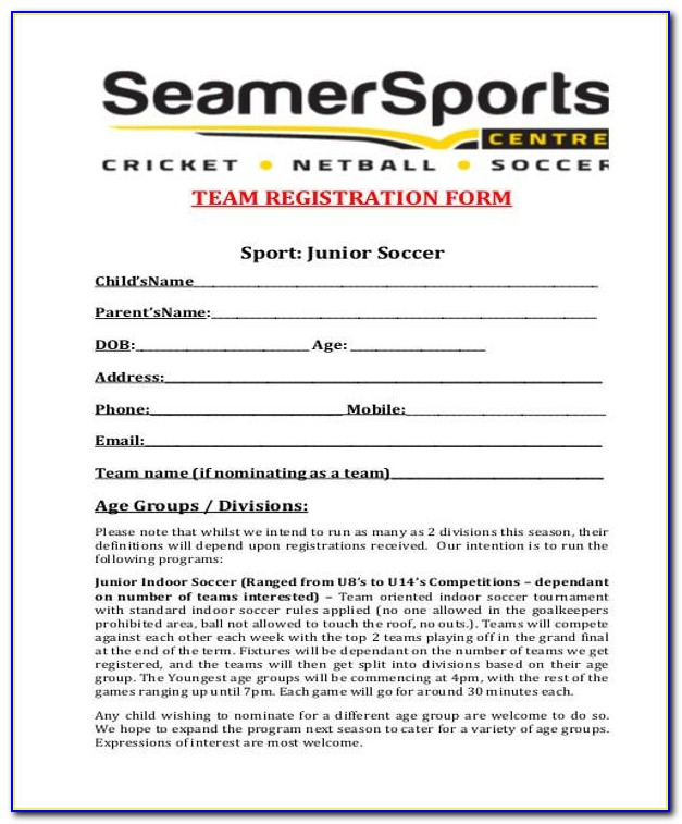 Flag Football Registration Form Template