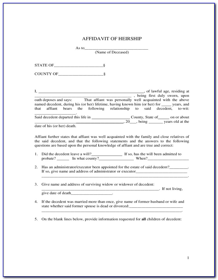 Free Affidavit Of Heirship Form Tennessee