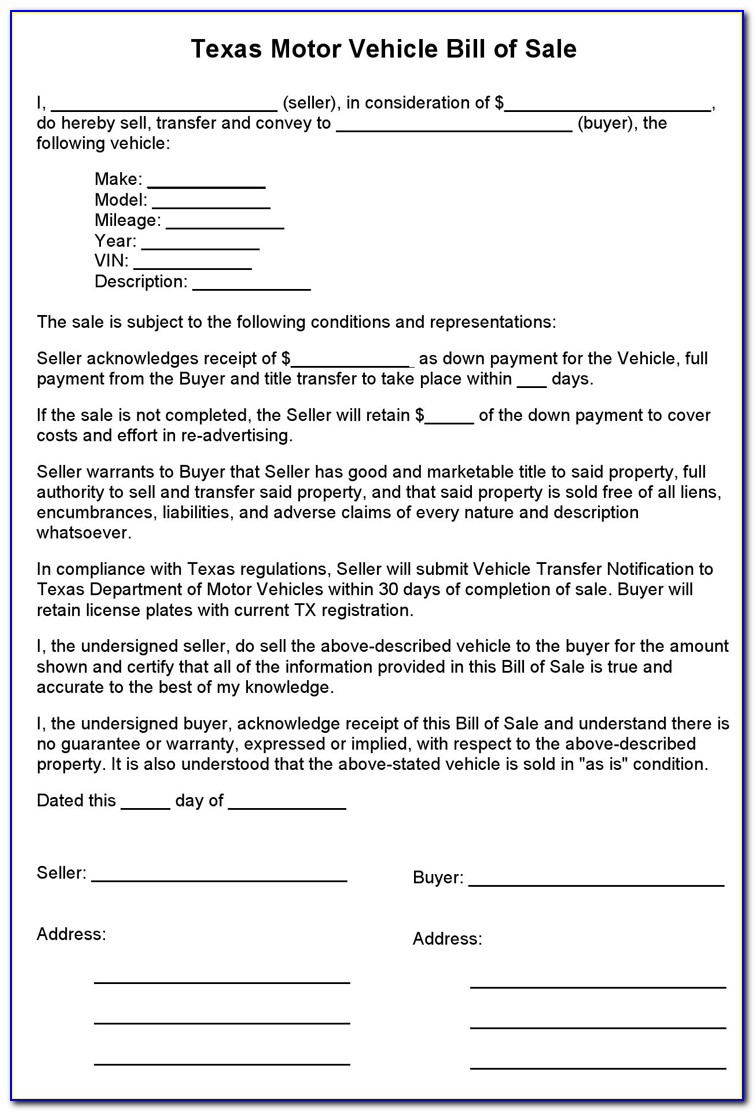 Free Bill Of Sale Form Texas Pdf