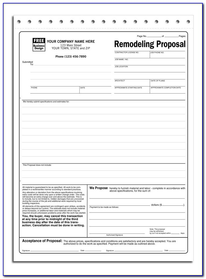 Free Contractor Bid Proposal Template