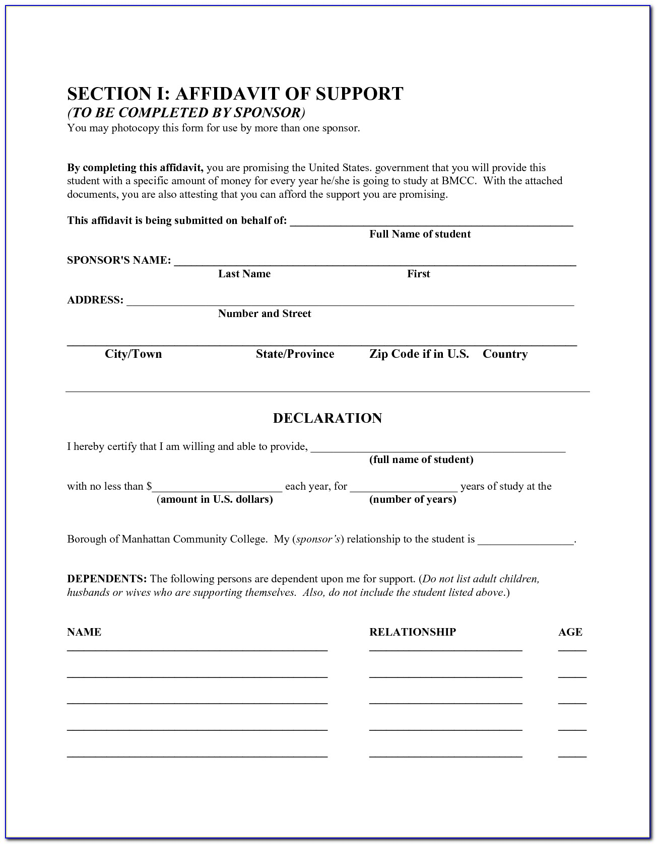 Free General Affidavit Form Download Sample Purchase Agreement For Throughout Affidavit Template Free