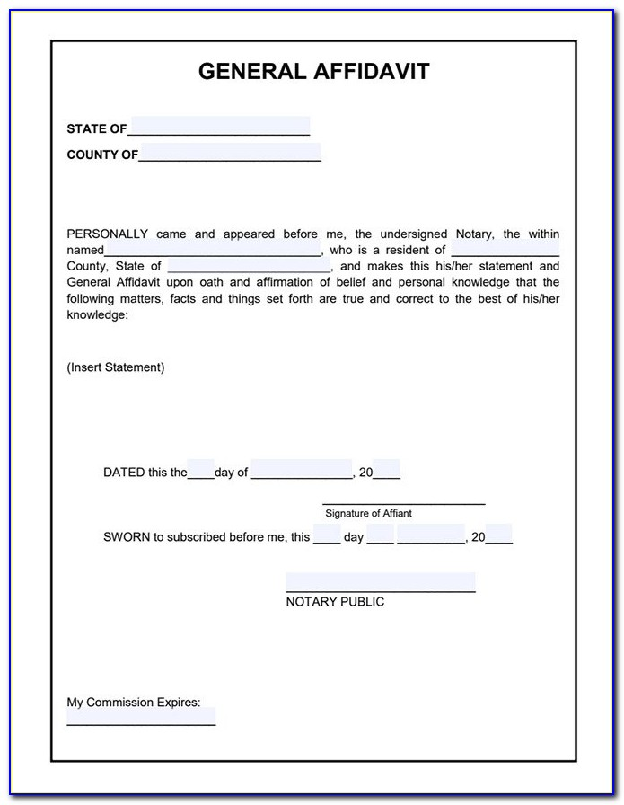 Free General Affidavit Form Texas
