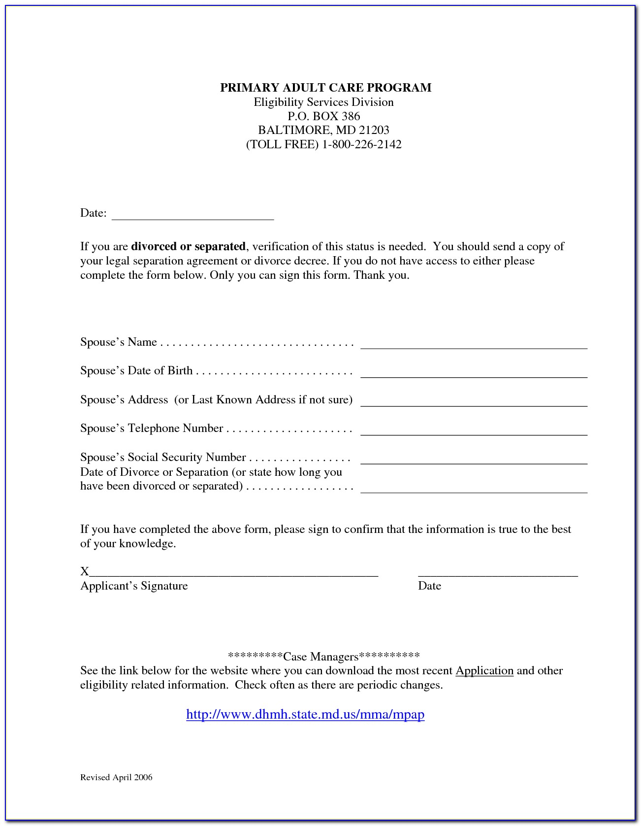 Free Marriage Separation Agreement Form