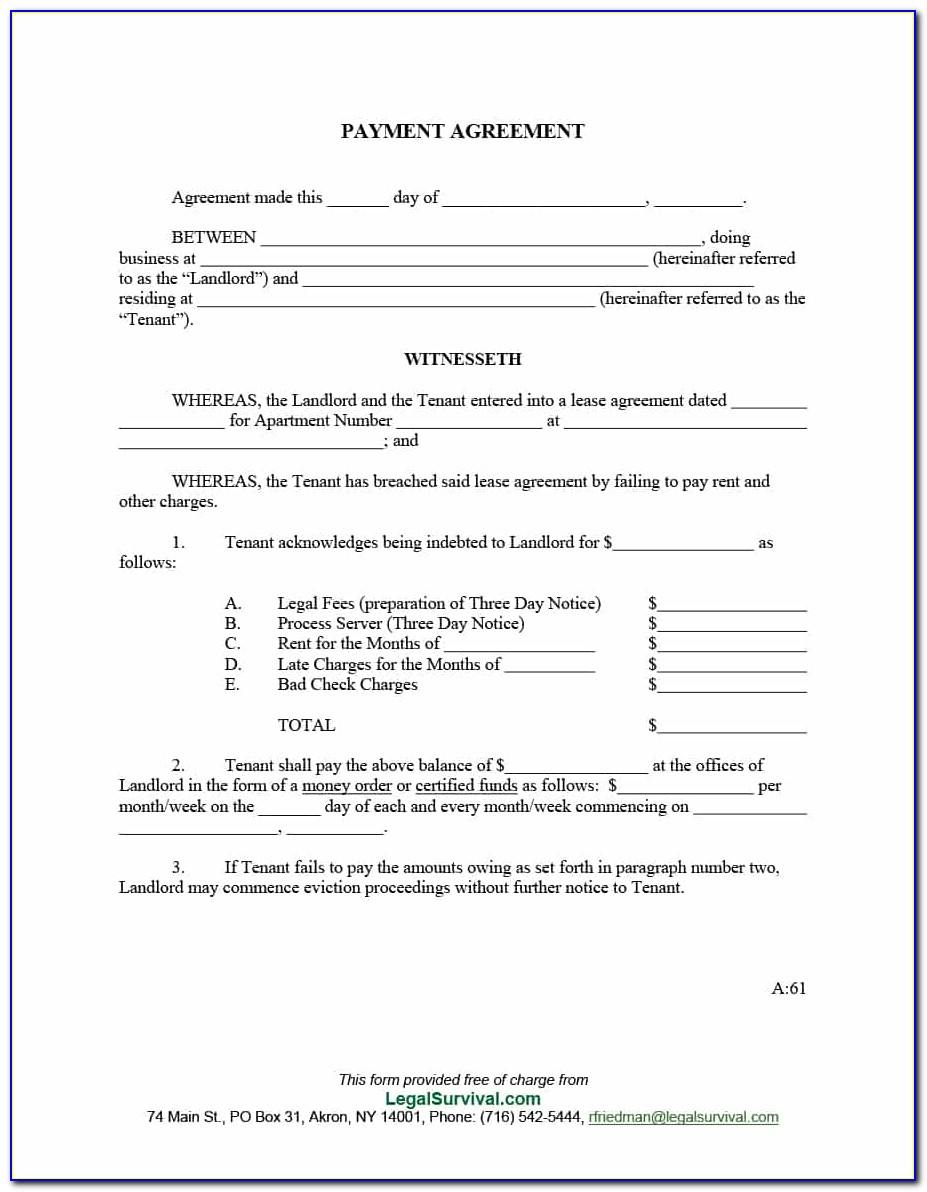 Free Payment Agreement Form