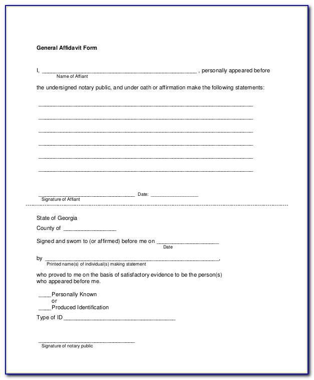 Free Printable Affidavit Form