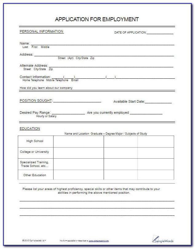 Free Printable Job Application Template Pdf