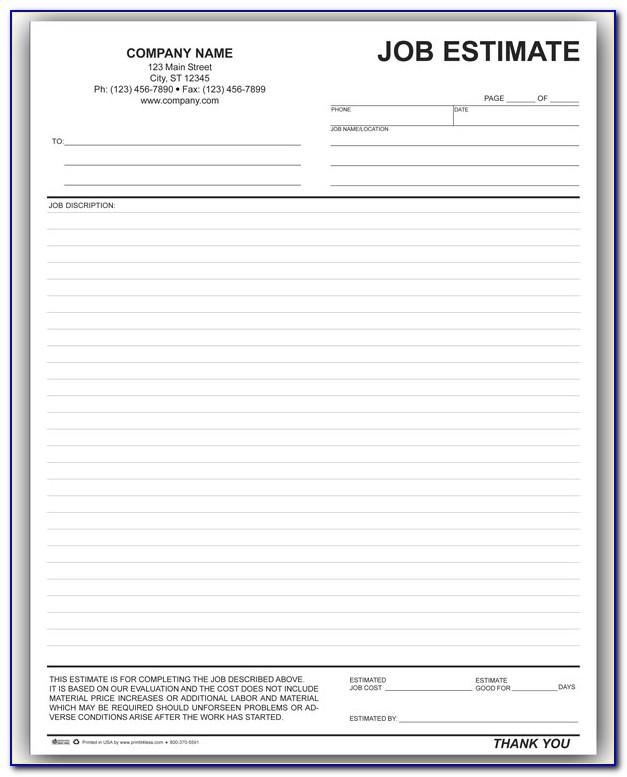 Free Printable Job Estimate Template