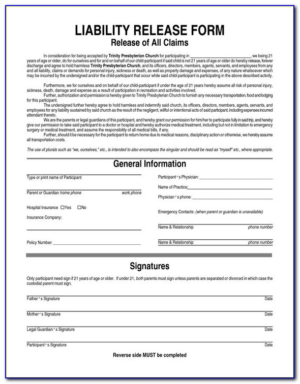 Generic Waiver Of Liability Form