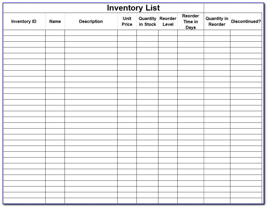 Inventory Control Forms Samples
