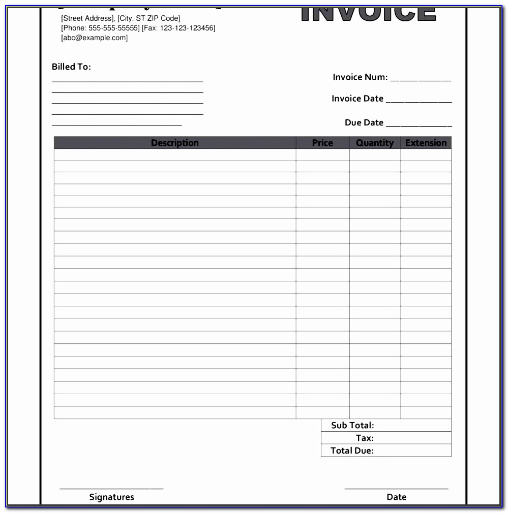 Blank Invoice Templates 9efdu Luxury Blank Invoice Form Free Printable Invoice Template Intended For