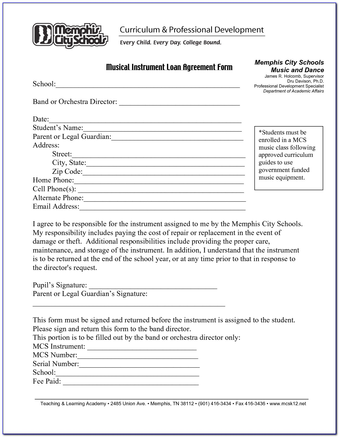 Loan Agreement Form Sample