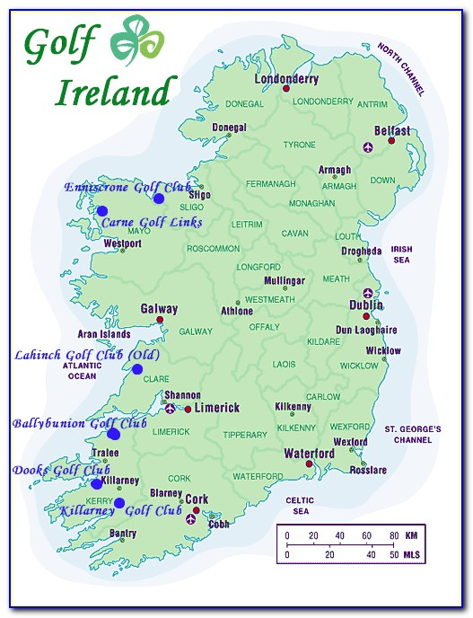 Map Of Golf Courses In South West Ireland