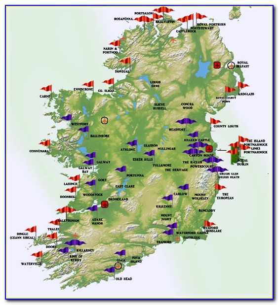Map Of Ireland Showing Golf Courses