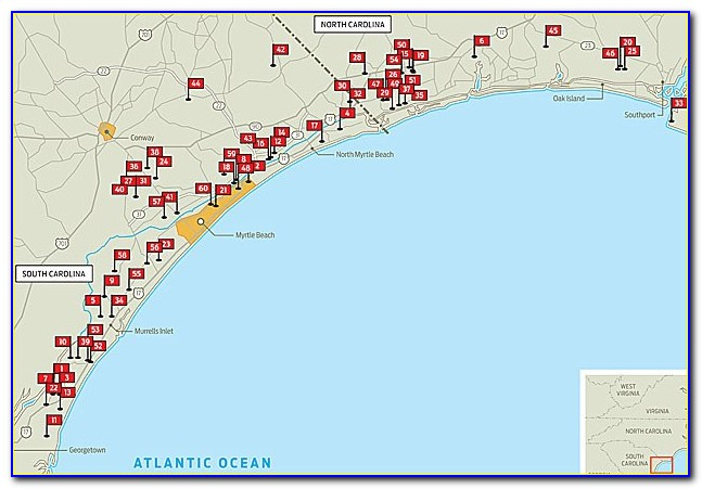Map Of Myrtle Beach Area Golf Courses