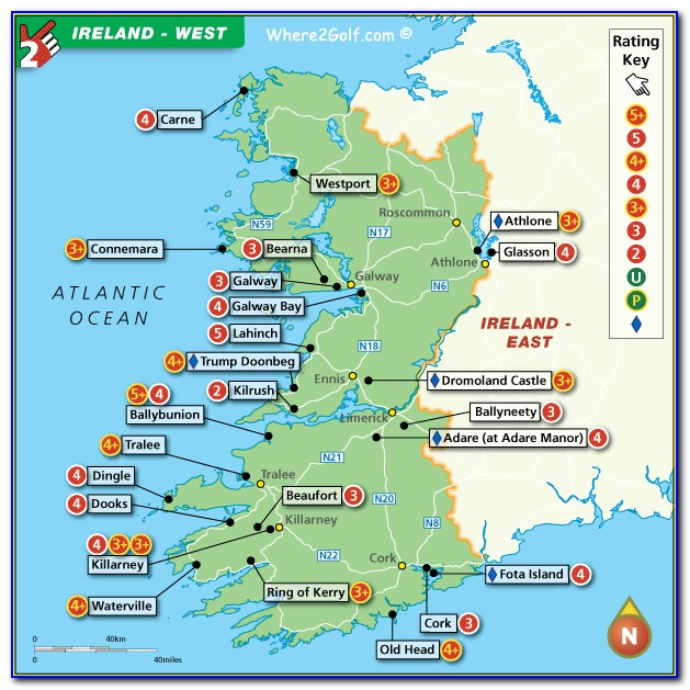Map Of Southern Ireland Golf Courses