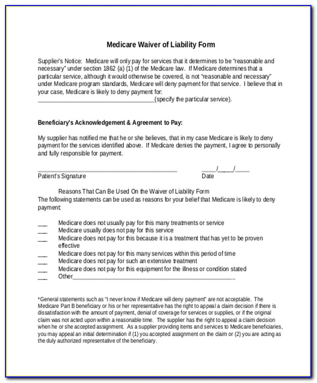 Medicare Waiver Of Liability Form